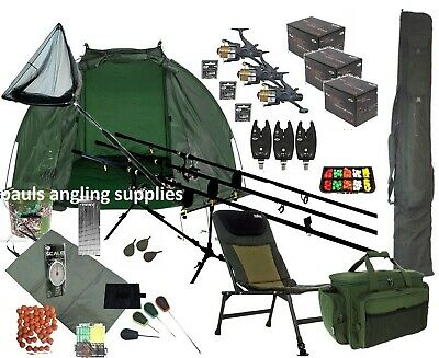3 Carp Rod  Fishing Set Up Kit Rods Reels Chair Rod Bag Tackle Mat Shelter P16