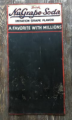 Vintage Original NuGrape Soda Embossed painted tin Chalkboard Sign General Store