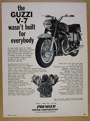 1967 Moto Guzzi V7 V-7 motorcycle photo vintage print Ad