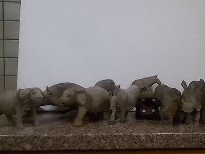 JOBLOT OF 8 CARVED WOOD WILD ANIMALS- see photos