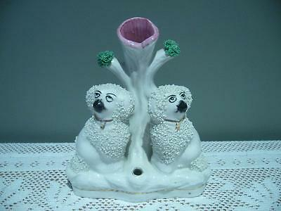 Vintage Staffordshire Poodle Spill Vase With Quill / Pen Holder - England - Vgc