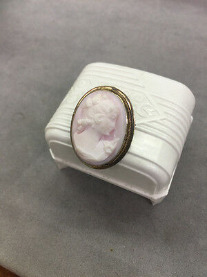 Antique 800 Silver Vermeil Pink Carved Cameo Brooch Pin / Pendant
