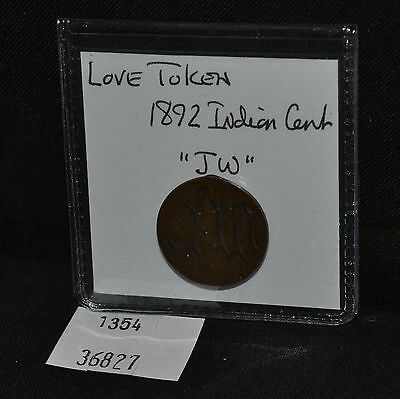 "West Point Coins ~ Love Token ""JW"" 1892 Indian Head Cent"