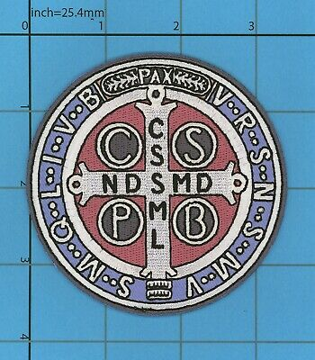 Saint St. Benedict Cross Medal Patch Morale Army Military Devil Chasing Christ