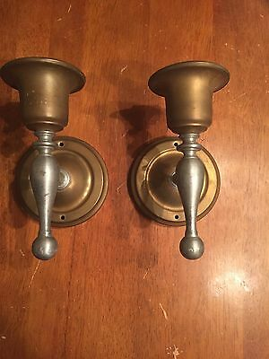 Old Vtg Antique Metal Original Light Fixture Wall Sconce Pair Lot Of 2