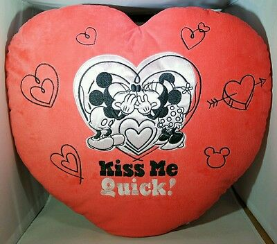 """MICKEY MINNIE MOUSE Red Heart 16x18"""" Pillow Velour DISNEY Valentine Gift"""