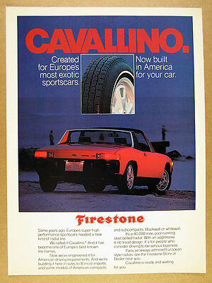 1975 Porsche 914 red car photo Firestone Tires vintage print Ad