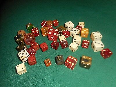 Vintage LOT of 39 DICE  ~  Bakelite Lucite Wood Assorted Size Color & Material