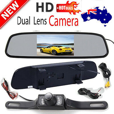 """Wired in Car Rear View Kit 4.3"""" LCD Mirror Monitor+Night Vision Reversing Camera"""
