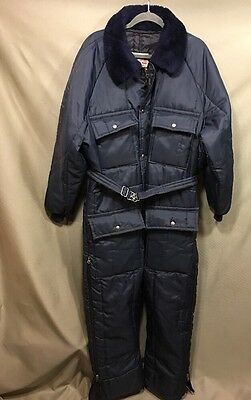 Vintage Walls Blizzard Pruf Snow Ski Sledding Suit Mens Insulated Blue One Piece