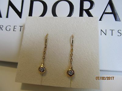 Authentic LOVEPODS 18K solid yellow gold genuine Diamond drop Earrings in box