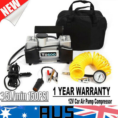 2 Cylinder 12V Car Air Pump Compressor 4x4 4WD Tyre Inflator 85L/min 150PSI New