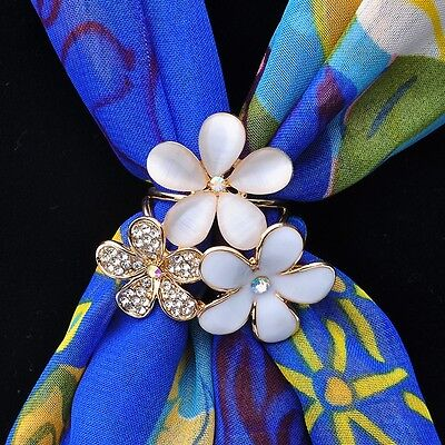 Elegant Lady Charm Butterfly Pearl Crystal Scarf Ring Shawl Buckle Clip Pin Gift