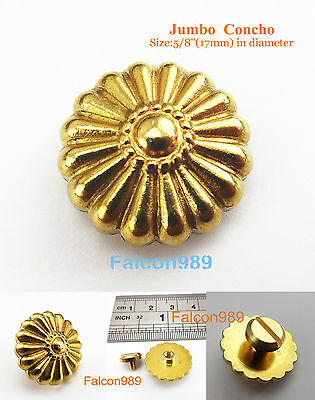 【AKM11-17】 Leather Craft  5/8'' Western Conchos Jumbo Concho Tack Button Gold