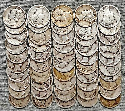 One Roll(50 Coins) Of Mercury Dimes - 1917 S To 1945 D