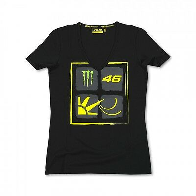 New Official Valentino Rossi VR46 Monster Womans T-Shirt Black  - MOMTS 115804