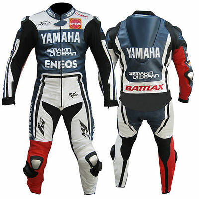 Yamaha Motorcycle Motorbike Leather Racing Suit Ce Approved Protection All Sizes
