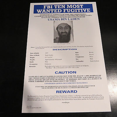 USAMA OSAMA BIN LADEN Pre 9/11-Updated Rare & Authentic FBI Wanted Poster - BLUE