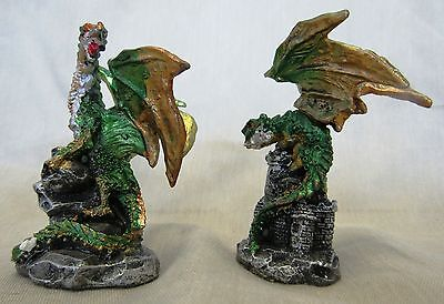 Miniature Dragons Statue Fantasy Mythical Gothic Magic Figure Ornament Set 2 -B