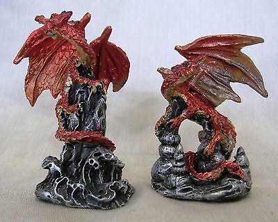 Miniature Dragons Statue Fantasy Mythical Gothic Magic Figure Ornament Set 2 -C