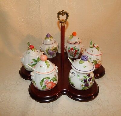 Vintage  Lenox 1991 Jelly Set 6 Containers And Wood Tray Fine China