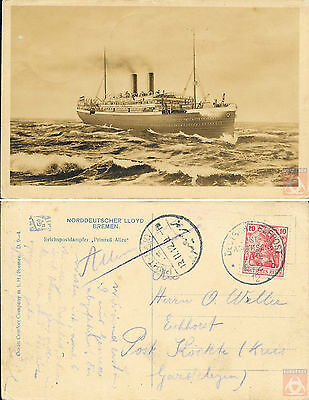 Allemagne - Carte Postale PAQUEBOT - PRINZESS ALICE - Seepost 1912 - Port-Said