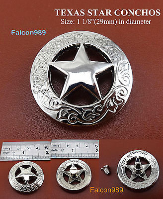 【KB202】1-1/8''  Western Concho Texas Star Saddle Concho Leathercraft Tack Button