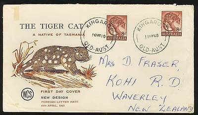 Australia 1960 FDC The Tiger Cat 8d two stamps