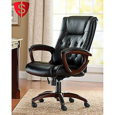 Black High Back Leather Office Rolling Computer Chair Heavy Duty Executive Desk