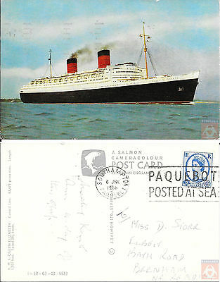 Angleterre - PAQUEBOT - QUEEN ELIZABETH - Posted at Sea 1968 - Southampton