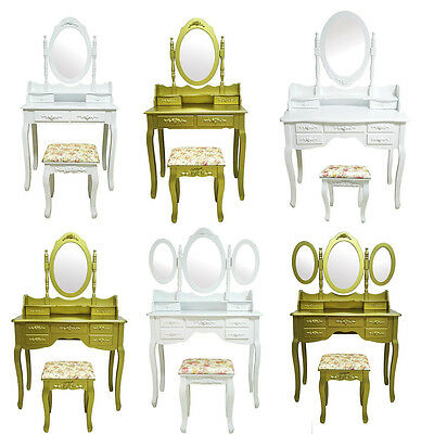 Dressing Table With Stool Set White Ivory Gold Drawers Oval Mirror For Bedroom