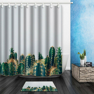 Succulent Plants Cactus Waterproof Fabric Shower Curtain Or Bathroom Mat 71inch