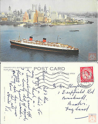 Angleterre - PAQUEBOT - QUEEN ELIZABETH - Posted at Sea 1964 - Cherbourg