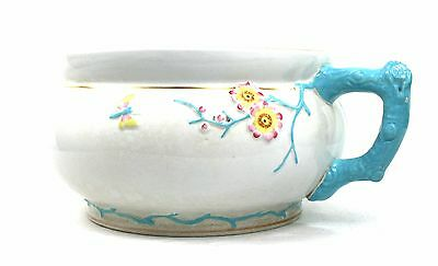 Early 20th C. Chamber Pot Jardiniere Pot Planter Floral Butterfly Branch Handle