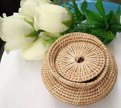 1Pc Handmade Put Giftcrafts Thailand Art&crafts Baskets Weaving Bowl With A Lid