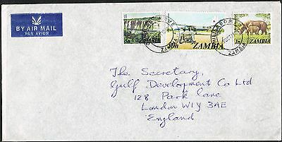 Zambia. 1975/1980. Cover to UK. Flying Doctor Service/Rhino/Bridge.
