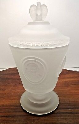 Vintage FENTON Satin Glass Footed Covered Candy Bowl Dish Presidents