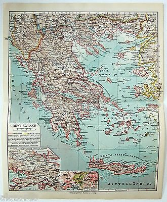 Original 1924 German Map of Greece by Meyers