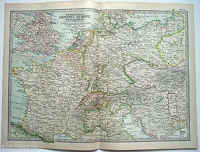 Original 1902 Travel Map of Central Europe - Nicely Detailed Color Lithograph