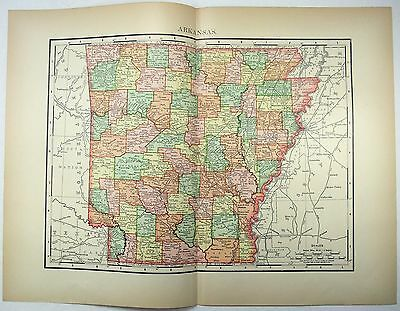 Original 1895 Map of Arkansas by Rand McNally