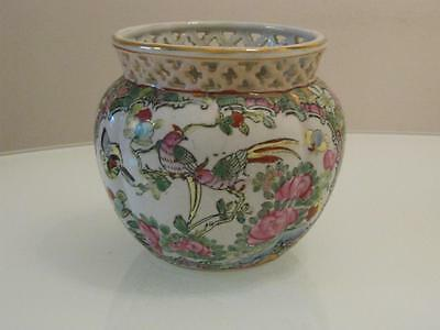 Antique Chinese Famille Rose Porcelain Reticulate Vase