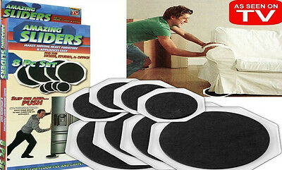 8 x FURNITURE MOVERS SLIDERS GLIDERS PROTECT FLOORING MOVE FURNITURE EASILY