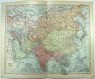 Original 1902 Dated Map of Asia by Dodd Mead & Company