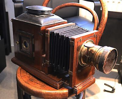 Rare antique mahogany magic lantern with large lens Woolley Manchester