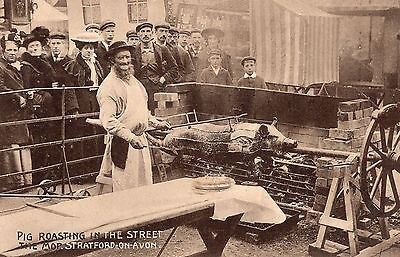 Postcard Pig Roasting in the Street The Mop Stratford Upon Avon Early RP h1
