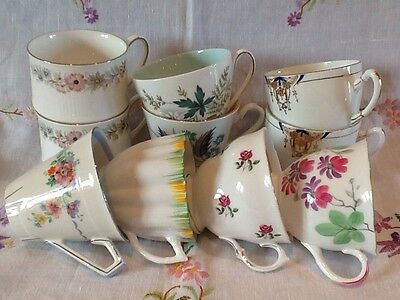 *10 Vintage Mismatched Cups And Saucers ~ English Bone China*