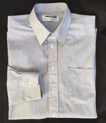 M&s Mens Blue White Pin Stripe Tailored Office Work Shirt - Collar 16""