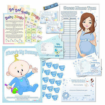 Fun Baby Shower Party Games - All Blue / Unisex for Baby Boy Bumps or Neutral