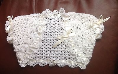 Baby Crochet Bolero Shrug Cardigan-Bridesmaid-Christening-Flowerlgirl  Cream