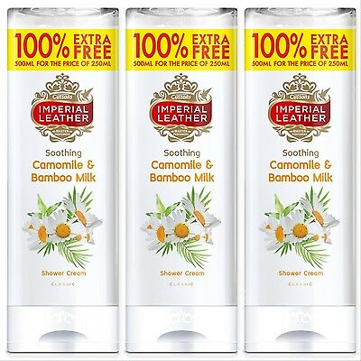3x Cussons Imperial Leather Soothing Camomile & Bamboo Shower Cream (3 x 500ml)